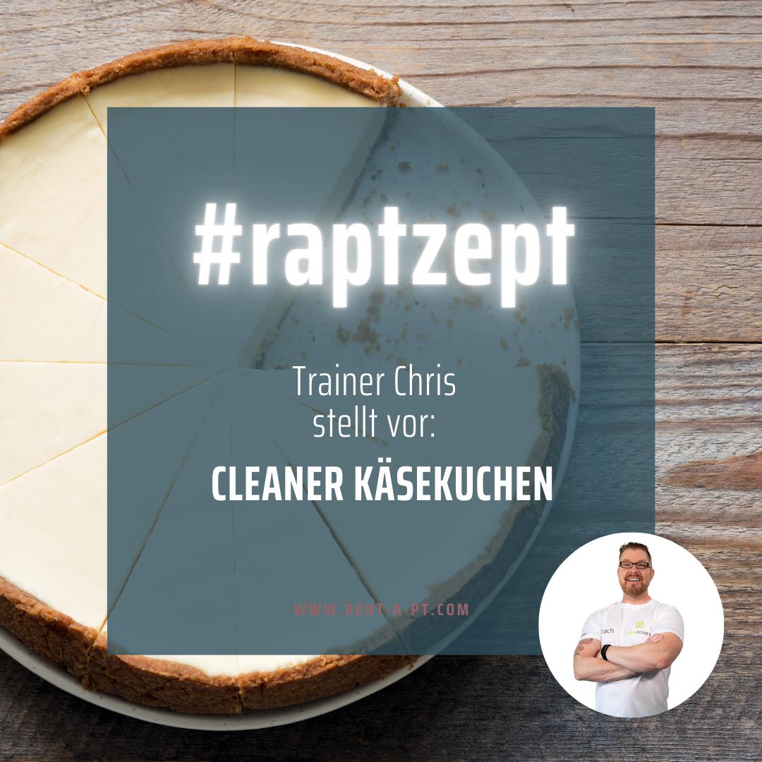 gesunder käsekuchen, vorgestellt von personal trainer chris kuhberher, steht auf einem tisch. kleines passbild vom trainer ist sichtbar.