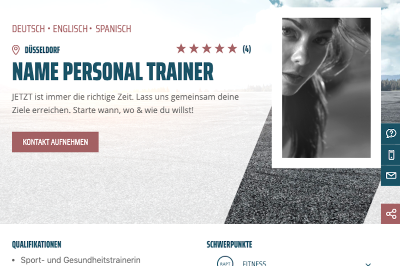 Screenshoot Trainerseite